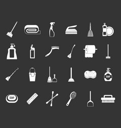 cleaning tools icon set grey vector image