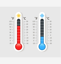 Cold warm thermometer temperature weather vector