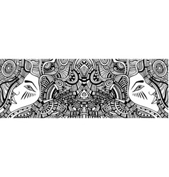 Coloring page with psychedelic fantasy girls vector