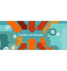 Conflict interest business management problem vector