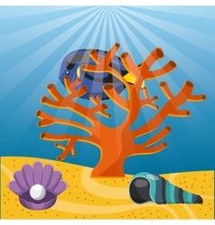 Coral fish and shell icon Sea life design vector