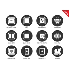 Cpu icons on white background vector
