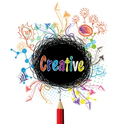 Creative pencil designs colorful concept vector image