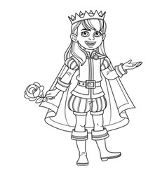 cute boy in a prince suit outlined for coloring vector image