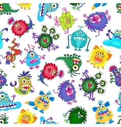 Cute monster party kids seamless pattern vector