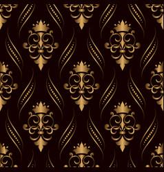 Damask seamless pattern golden background elegant vector