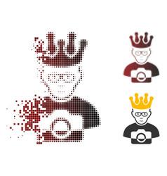 Disintegrating pixelated halftone thai king icon vector