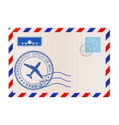 Envelope with hamburg germany stamp vector