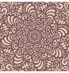 Fantasy flower hand drawn beige pattern vector image