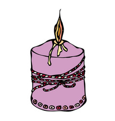 Fat burning candle with ribbon ink vector