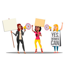 feminist girls at protest action for women s vector image