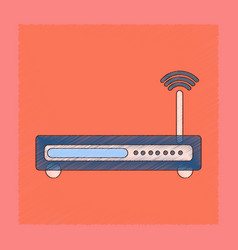 Flat shading style icon wi fi modem vector