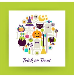 Flat Style Circle Set of Halloween Trick or Treat vector
