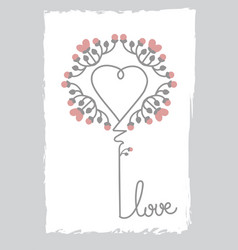 floral art heart shape love sign flower and leaf vector image