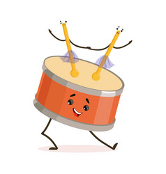 Funny drum musical instrument cartoon character vector