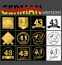 German set of number 43 templates vector