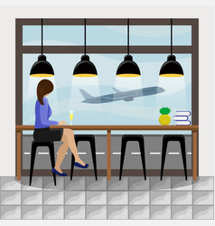 girl behind the bar counter at the airport vector image