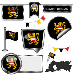 glossy icons with flag of flemish brabant belgium vector image