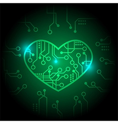Green circuit heart background vector image