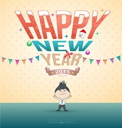 Happy new year test with cartoon vector