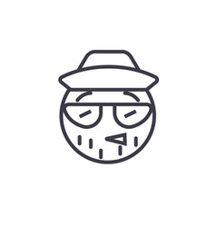 hipster emoji concept line editable vector image