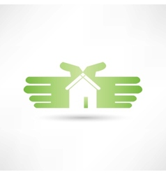 house hand icon vector image vector image