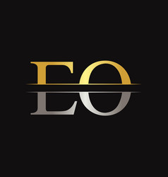 initial eo letter linked logo business template vector image