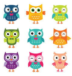 Isolated cartoon owls collection vector