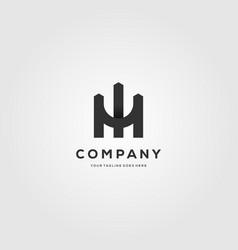 letter m fence logo minimalist design vector image