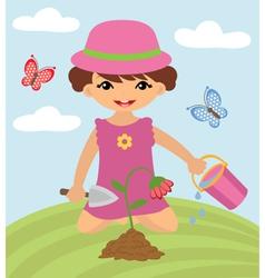 Little girl gardening vector image