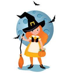 little girl in a halloween party costume vector image