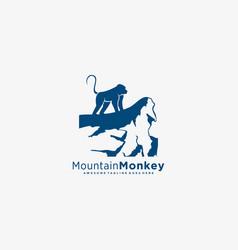 Logo mountain monkey vector