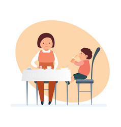 Mom and her child visit restaurant order food vector
