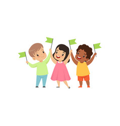 multicultural smiling little kids standing with vector image