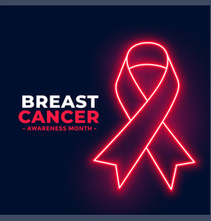 neon style breast cancer awareness month poster vector image