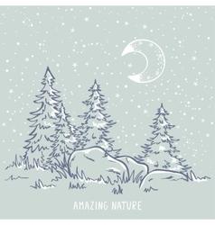 night amazing tree vector image