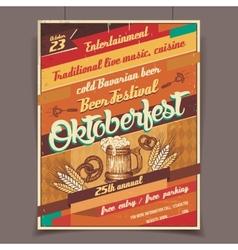 Oktoberfest beer festival retro poster vector image