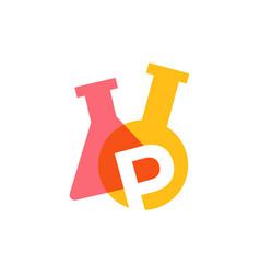 P letter lab laboratory glassware beaker logo icon vector