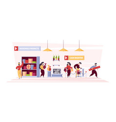 People in grocery product shelves and person vector