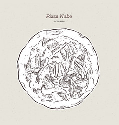 Pizza nube becon and mushroom pizza vector