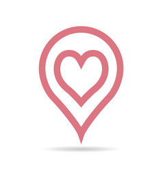 Place on map pointer for love meeting vector