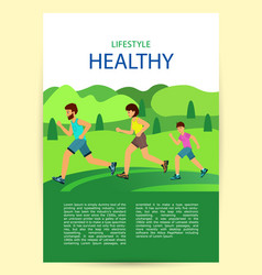 poster healthy active lifestyle family jogging vector image