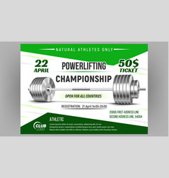 Powerlifting championship advertise poster vector