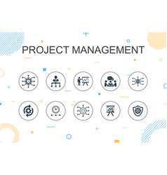 Project management trendy infographic template vector