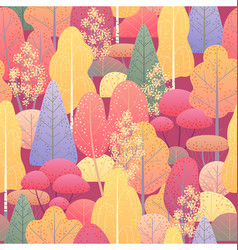 seamless pattern with autumn forest vector image