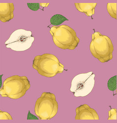Seamless pattern with ripe quince vector
