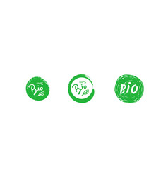 set bio 100 percent tree leaf handwritten green vector image