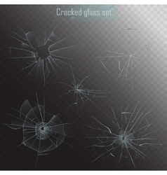 Set different types realistic broken glass vector