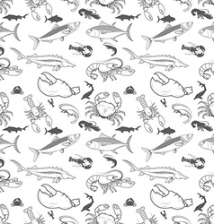 set fish crabs shrimps lobsters seamless vector image
