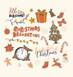 set icons christmas decoration theme fir tree vector image